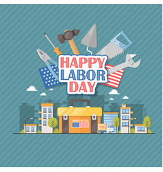 Happy labor day american flat vector