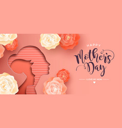 Happy mothers day card papercut mom and kid vector