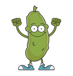 Happy smiling dill pickle cartoon character vector