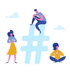 hashtag people characters chatting with phones vector image