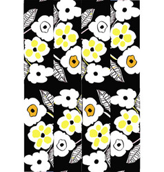 High contrast floral pattern black background vector
