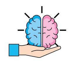 idea brain working cartoon vector image