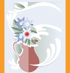Jug milk flowers vector