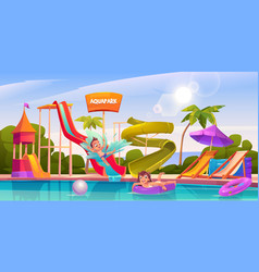 kids in aquapark amusement aqua park attractions vector image