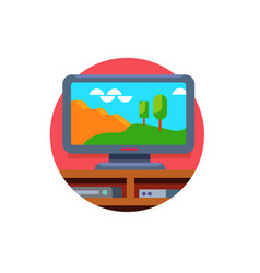 large widescreen tv set stand on tv table vector image