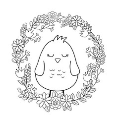 little chick with floral crown easter character vector image