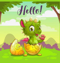 Little cute newborn baby dragon childish vector