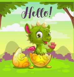 little cute newborn badragon childish vector image