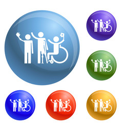 man in wheelchair icons set vector image