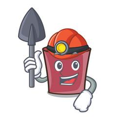 Miner hot chocolate mascot cartoon vector
