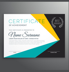 Modern certificate template with geometric shapes vector