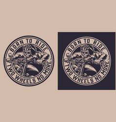 motorcycle vintage round emblem vector image