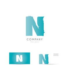 n blue letter alphabet logo icon design vector image