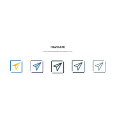 Navigate icon in different style two colored and vector