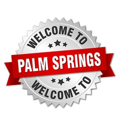 Palm springs 3d silver badge with red ribbon vector