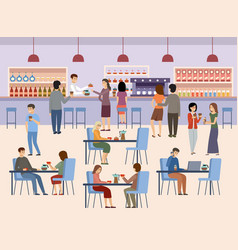 people in a cafe lunch break beverages coffee time vector image
