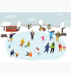 people skating on ice rink outdoors winter vector image