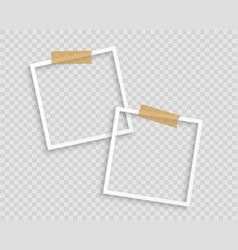 photo frames with tape on transparent background vector image