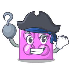 Pirate toy brick character cartoon vector