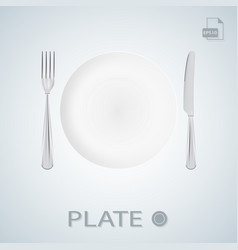 Plate with fork and knife isolated on a background vector