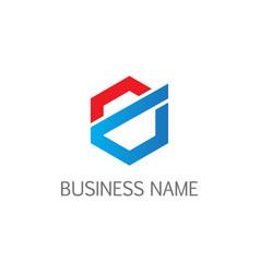 polygon line abstract business logo vector image