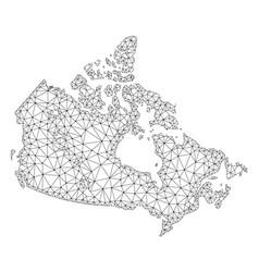 Polygonal network mesh map of canada vector