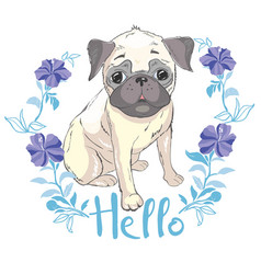 puppy pug in a headband on pink background vector image