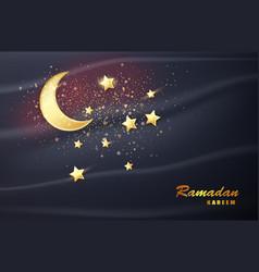 ramadan kareem banner with moon eid mubarak card vector image