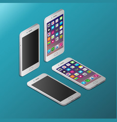 realistic white smartphone in isometry vector image
