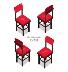 Red Chair in Isometric Projection vector image