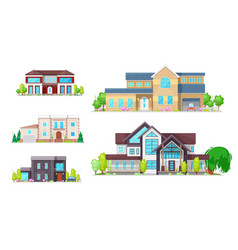 Residential villas mansions and family houses vector