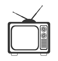 Retro tv icon in black and white colors vector image
