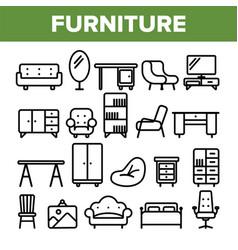 room furniture line icon set interior vector image
