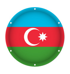 round metallic flag of azerbaijan with screw holes vector image