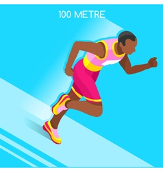 Running 2016 Summer Games 3D Isometric vector image