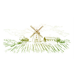 Rural dutch landscape with windmill and wheat vector