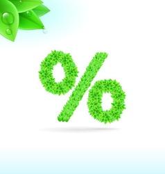 Sans serif font with green leaf decoration vector