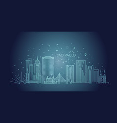 sao paulo city skyline background vector image