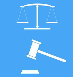 Scales of justice and gavel vector image
