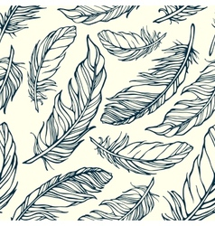 Seamless pattern with decorative feathers vector