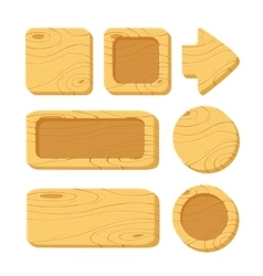set cartoon wooden game assets vector image