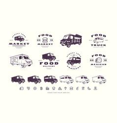 set emblems and logo for street food market vector image