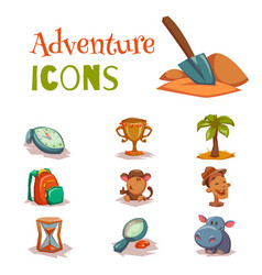 Set of tropical adventure game icons templates vector