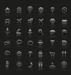 Set of universal silver icons vector image