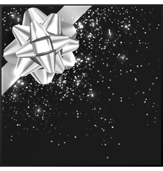 Silver Christmas Bow with confetti on gift box vector image