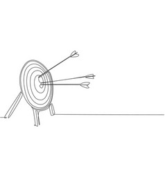 Single continuous line drawing archery target vector
