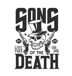 skull with guns t-shirt print mockup vector image