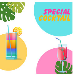 special cocktail two glasses of cocktail backgroun vector image