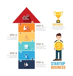Startup Business design arrow jigzaw concept vector image