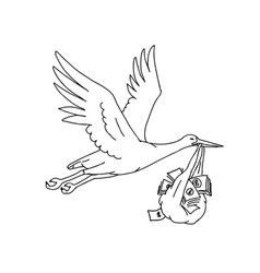 Stork delivering money bag drawing vector